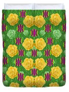 Roses Dancing On A Tulip Field Of Festive Colors Duvet Cover