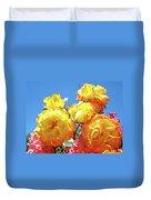 Roses Garden Summer Art Print Blue Sky Yellow Orange Duvet Cover