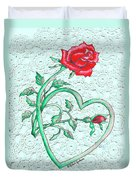 Roses Hearts And Lace Flowers Design  Duvet Cover