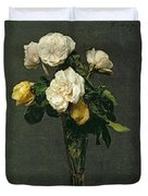 Roses In A Champagne Flute Duvet Cover