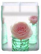Roses In Green Jars Duvet Cover