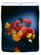 Roses In The Blue Duvet Cover