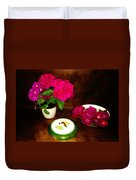 Roses In Vase And Bowl Duvet Cover
