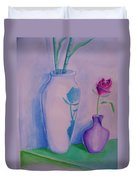 Roses  In Vase Duvet Cover