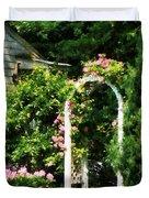 Roses On Trellis Duvet Cover