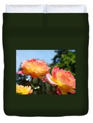 Roses Yellow Roses Pink Summer Roses 4 Blue Sky Landscape Baslee Troutman Duvet Cover