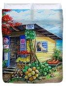 Rosies Beach Cafe Duvet Cover