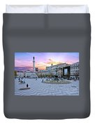Rossio Square In Lisbon Portugal At Sunset Duvet Cover