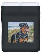 Rottweiler Beach Duvet Cover