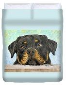 Rottweiler's Sweet Face 2 Duvet Cover by Megan Cohen