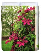 Rouge Cardinal Clematis 2 Duvet Cover