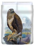 Rough Legged Buzzard Hawk Antique Bird Print The Birds Of Great Britain Duvet Cover