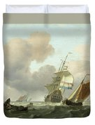 Rough Sea With Ships Duvet Cover