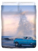 Rough Surf On The Malecon Duvet Cover