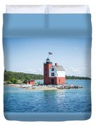 Round Island Lighthouse Duvet Cover