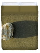 Round Rock And Shadow On Sand Dollar Duvet Cover