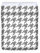 Rounded Houndstooth White Background 09-p0123 Duvet Cover