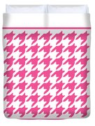 Rounded Houndstooth With Border In French Pink Duvet Cover