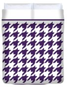 Rounded Houndstooth With Border In Purple Duvet Cover