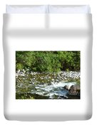 Rounded Rocks In A Rushing River Duvet Cover