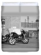 Route 66 Motorcycles Bw Duvet Cover