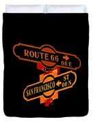 Route 66 Street Sign Stylized Colors Duvet Cover
