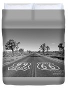 Route 66 With Joshua Trees In Black And White Duvet Cover