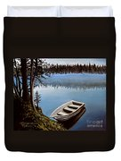 Row Boat In The Fog Duvet Cover