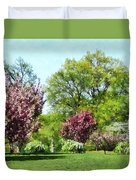 Row Of Flowering Trees Duvet Cover