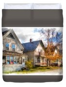 Row Of Houses Hardwick Vermont Watercolor Duvet Cover