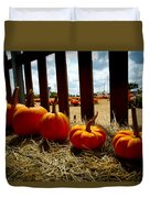 Row Of Pumpkins Sitting Duvet Cover