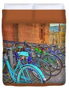 Row Of Student Bikes At Princeton University Nj Duvet Cover