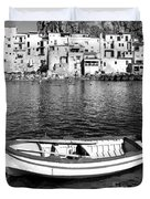 Rowboat Along An Idyllic Sicilian Village. Duvet Cover