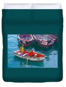Rowboat In The Harbor At Port Of Valpaparaiso-chile Duvet Cover