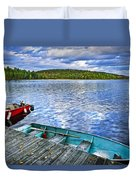 Rowboats On Lake At Dusk Duvet Cover by Elena Elisseeva