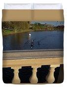 Rowinfg Towards The Weeks Bridge Charles River Harvard Square Cambridge Ma Duvet Cover