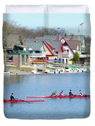 Rowing Along The Schuylkill River Duvet Cover