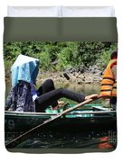 Rowing Boat With Legs, Tam Coc  Duvet Cover