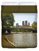 Rowing In Central Park Duvet Cover