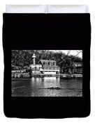Rowing Past Turtle Rock Light House In Black And White Duvet Cover