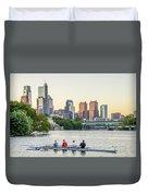 Rowing The Schuylkill - Philadelphia Cityscape Duvet Cover