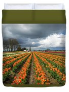 Rows Of Colorful Tulips At Festival Duvet Cover