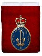 Royal Australian Navy -  R A N  Badge Over Red Velvet Duvet Cover
