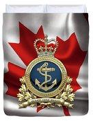 Royal Canadian Navy  -  R C N  Badge Over Canadian Flag Duvet Cover