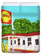 Rt 66 Shell Station Duvet Cover