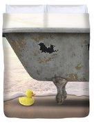 Rubber Ducky Bathtub Beach Surreal Duvet Cover