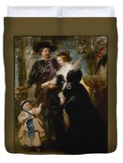 Rubens His Wife Helena Fourment 16141673 And Their Son Frans 16331678 Duvet Cover