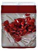 Ruby Red Hearts And Crystal Duvet Cover