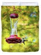 Ruby-throated Hummingbird 2 - Impasto Duvet Cover