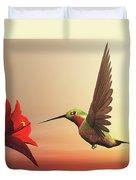 Ruby-throated Hummingbird - 3d Render Duvet Cover